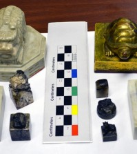 The nine seals confiscated last year include three national seals of the Korean Empire, one royal seal of the Korean Empire and five signets of the Joseon Royal Court of the Joseon Dynasty. The Korean Empire (1897-1910) succeeded the Joseon Dynasty (1392-1910). (ICE photo)