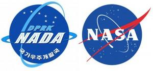 Korea Central News Agency's new logo next to NASA's