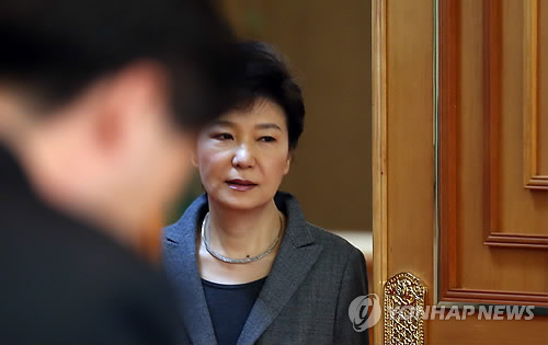 South Korean President Park Geun-hye enters a conference room at the Blue House on April 21. / Yonhap