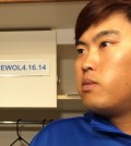 "Before Thursday's  game, the Dodgers' official Twitter account posted a picture of Ryu's locker with the sign ""SEWOL 4.16.14,"" in tribute to the victims of the accident off South Korea's southern coast.  (Yonhap)"