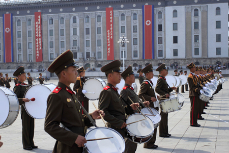 A North Korean military marching band plays at Kim Il Sung Square in Pyongyang to mark the 82nd anniversary of the founding of the Korean People's Army in April. (AP)