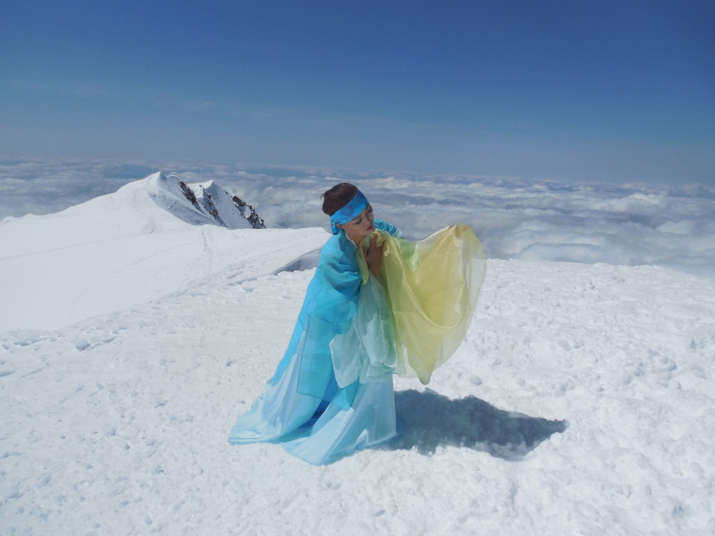 Dancer Uhm Ju-yoon performs on Mount Hood.