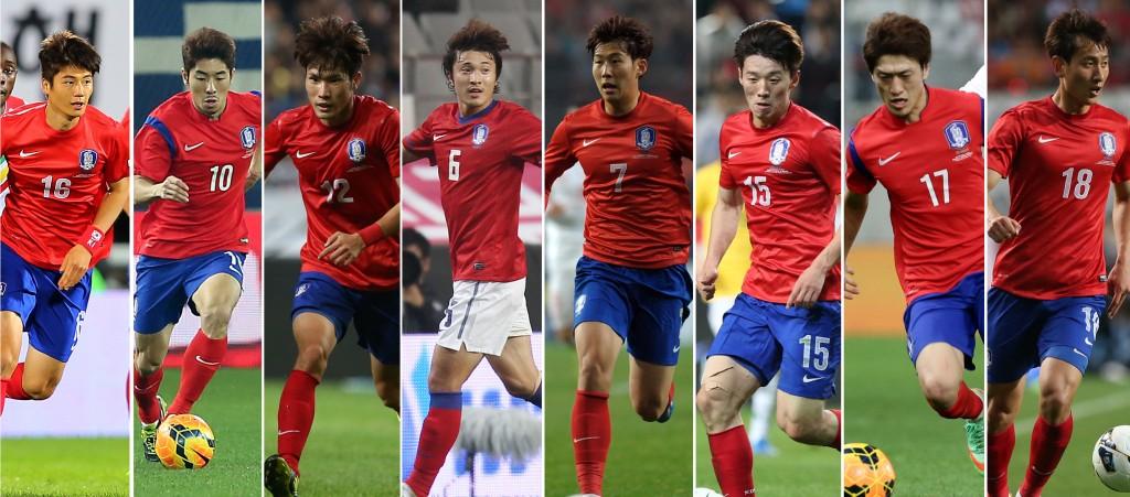 South Korea's strength is in their mid-field, consisting of Ki Sung-yeung (from left to right) , Ha Dae-sung, Han Koo-young, Park Jong-woo, Son Heung-min, Kim Bo-kyung, Lee Chung-yong, Ji Dong-won. (Yonhap)