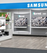 "This is Samsung Electronics' ""shop-in-shop"" section, dubbed the Samsung Entertainment Experience, set up at one of Best Buy stores in the United States. (Courtesy of Samsung Electronics)"
