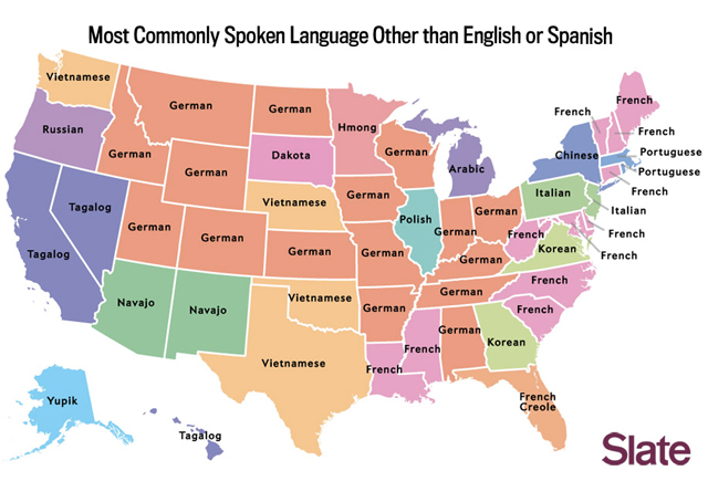 The Korean language is third in Georgia and Virginia. (Courtesy of Slate)