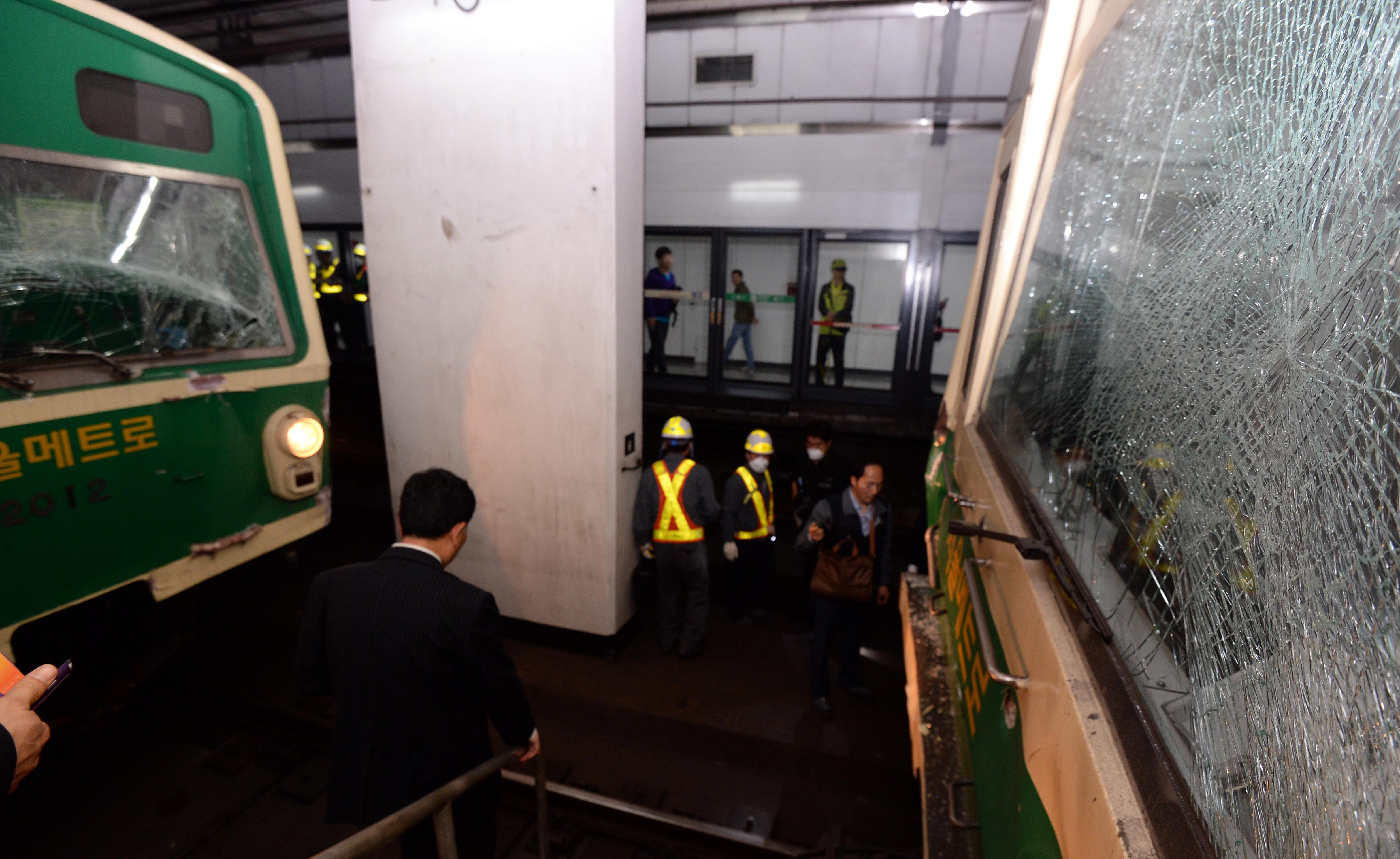 Two Seoul Metro trains crashed Friday, injuring more than 230. /Newsis