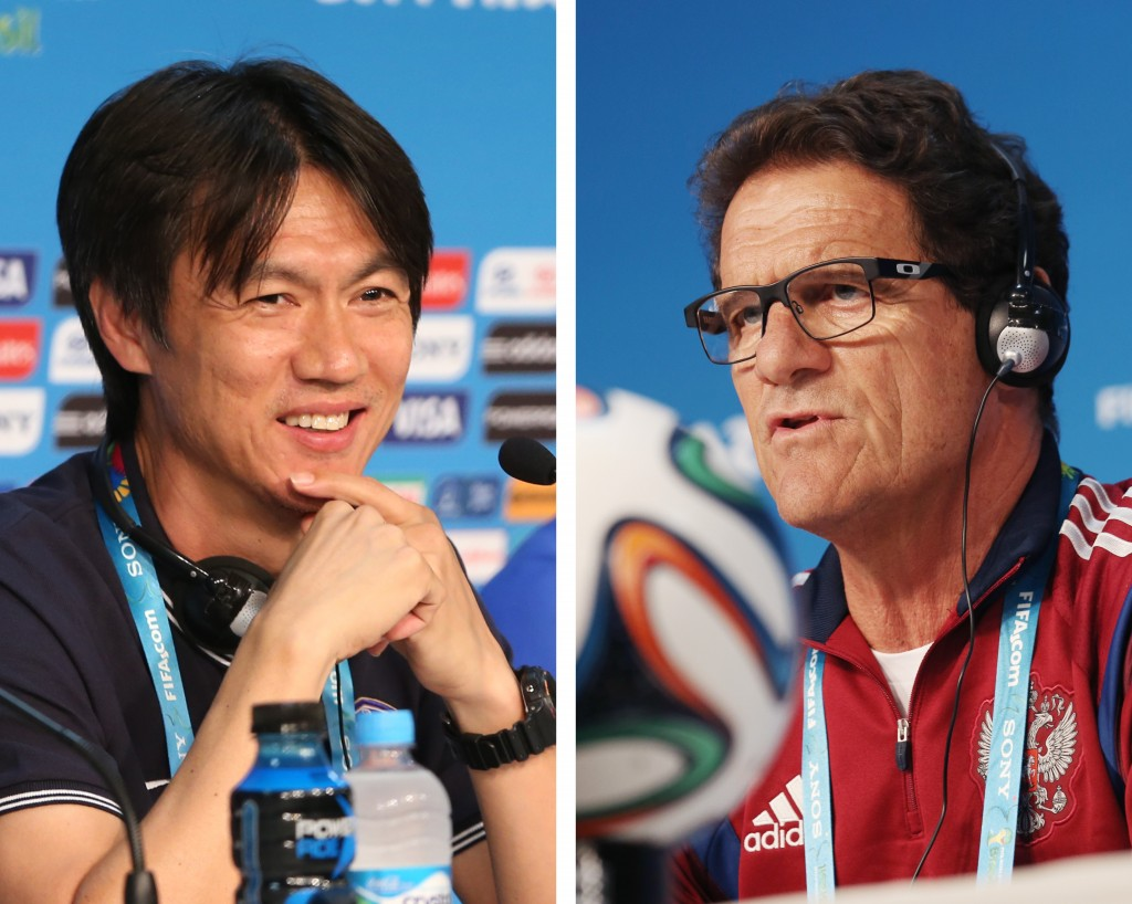 It's unusual for Korea's manager Hong Myung-bo, left, to smile as much did on Monday.  Fabio Capello, head coach for Russia, said it wasn't important to know Korean players' names, as long as his players knew their opponents' characteristics.  (Yonhap)