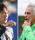 Korean manager Hong Myung-bo, left, and Algeria's boss Vahid Halilhodz. (Yonhap)