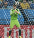 Russia's goalkeeper Igor Akinfeev gets embarrassed as the ball, kicked by South Korea's Lee Keun-ho, bounces off his head into the goal during the group H World Cup soccer match between Russia and South Korea at the Arena Pantanal in Cuiaba, Brazil, Tuesday, June 17, 2014.  (AP Photo/Ivan Sekretarev)