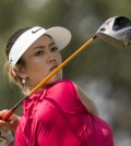 Michelle Wie hits from the 10th tee box during the second round of the NW Arkansas Championship golf tournament on Sunday, June 29, 2014, in Rogers, Ark. (AP Photo/Beth Hall)