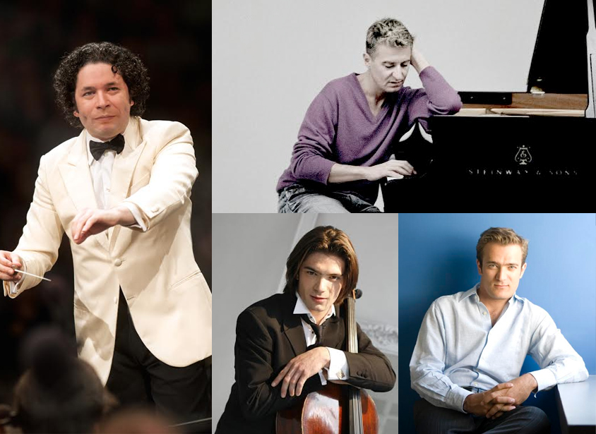 From left to right, clockwise: Gustavo Dudamel, Gautier Capucon, Renauld Capucon, Jean-Yves Thibaudet