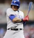 Texas Rangers' Choo Shin-soo, of Korea, avoids a close pitch. (AP)