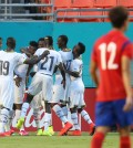 Ghana players celebrate after their second goal. (Yonhap)