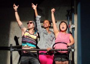 "Justin Huen (left), Taylor Hawthorne and Kahyun Kim in ""Hit"" at the LATC. (Courtesy of LATC)"