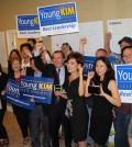 Young Kim celebrates with her supporters after the primary election.