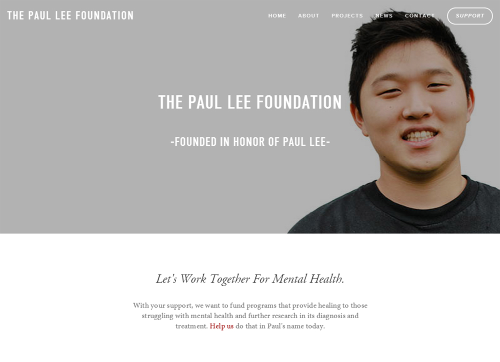 A screenshot of the Paul Lee Foundation website.