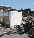 The remnants of a commercial building in Palisades Park, New Jersey, after a July 23 fire.