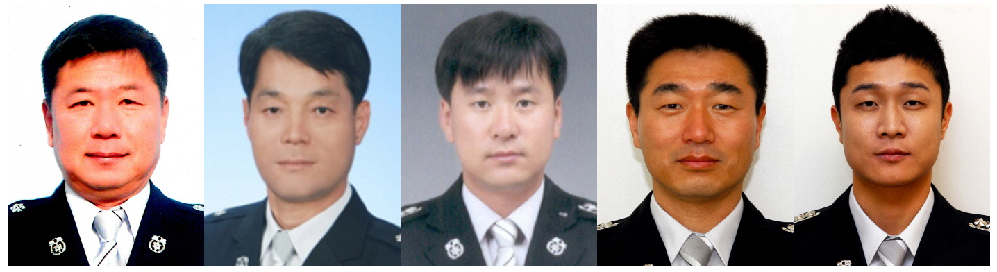 Pictured are the five firefighters killed in a helicopter crash in Gwangju, Thursday. From left are Chung Sung-chul, 52; Park In-don, 50; Ahn Byung-gook, 38; Shin Young-ryong, 42; and Lee Eun-gyo, 31.  (Yonhap)