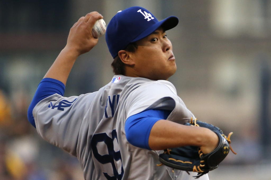 Los Angeles Dodgers starting pitcher Ryu Hyun-Jin (99) delivers during the first inning of a baseball game against the Pittsburgh Pirates in Pittsburgh Monday, July 21, 2014. (AP Photo/Gene J. Puskar)