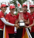 From left to right, Belen Mozo, Beatriz Recari, Carlota Ciganda and Azahara Munoz, all of Spain, hold the trophy after winning the International Crown golf tournament Sunday, July 27, 2014, in Owings Mills, Md. (AP Photo/Gail Burton)
