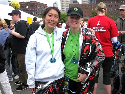 Maggie Kim, left, with Mari Jo Steiner at the 2011 Seattle Rock 'n' Roll Half Marathon. (LifeCenter Northwest)