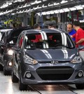 Hyundai Motor Co.'s Turkey production plant churning out i10 supermini vehicles. (Yonhap)