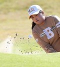 Park Inbee watches a bunker shot during the final round of the Ricoh Women's British Open on July 13, 2014, at Royal Birkdale Golf Club in Southport, England. (AP)