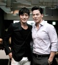 """Rich Ting, right, with actor Jang Dong-gun for """"No Tears for the Dead."""" (Courtesy of Rich Ting)"""