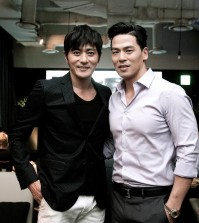 "Rich Ting, right, with actor Jang Dong-gun for ""No Tears for the Dead."" (Courtesy of Rich Ting)"