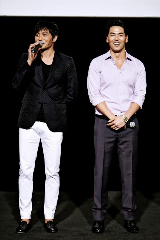 "Rich Ting, right, at a film screening with Jang Dong-gun for ""No Tears for the Dead."" (Courtesy of Rich Ting)"