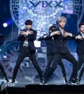"Six members of the rising K-pop boy group VIXX, which stands for Voice, Visual, Value in Excelsis, perform in this file photo following the release of its fourth single ""Eternity"" in May. The song helped the group top the music charts immediately after the release. The six members will soon perform in Osaka and Tokyo in August. (Courtesy of Jellyfish)"