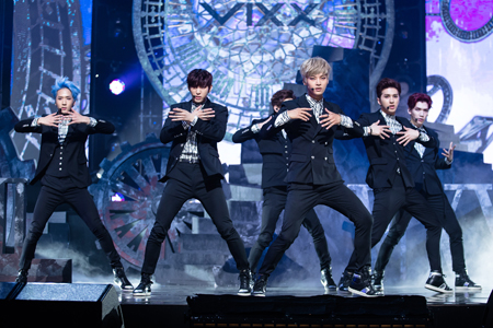 """Six members of the rising K-pop boy group VIXX, which stands for Voice, Visual, Value in Excelsis, perform in this file photo following the release of its fourth single """"Eternity"""" in May. The song helped the group top the music charts immediately after the release. The six members will soon perform in Osaka and Tokyo in August. (Courtesy of Jellyfish)"""
