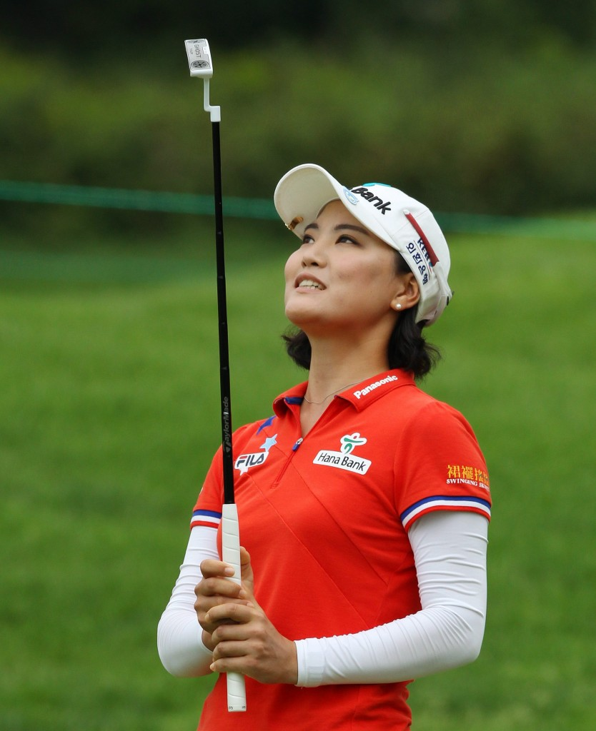 Ryu So-eon of South Korea reacts to her putt on the second hole during the third round of the Canadian Women's Open golf tournament in London, Ontario, on Saturday, Aug. 23, 2014. (AP Photo/The Canadian Press, Dave Chidley)