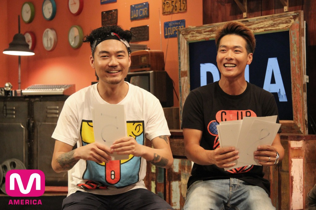 Dumfoundead and Danny Im on the set of DFLA. (Courtesy of Mnet America)