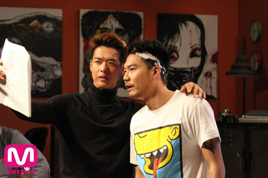 Danny Im and Dumbfoundead on the set of DFLA. (Courtesy of Mnet America)