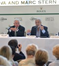 Placido Domingo, second from right, discusses the Placido Domingo Operalia competition at a press conference held Tuesday. (Kim Young-jae / The Korea Times)