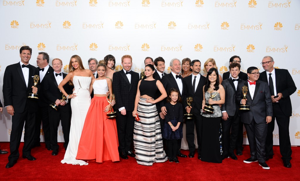 "The cast of ""Modern Family"" at the 66th Primetime Emmy Awards. Elaine Ko,"