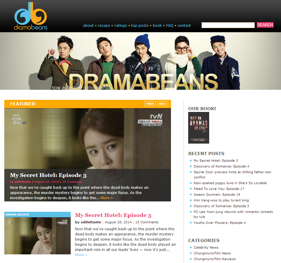 A screen capture of Dramabeans.