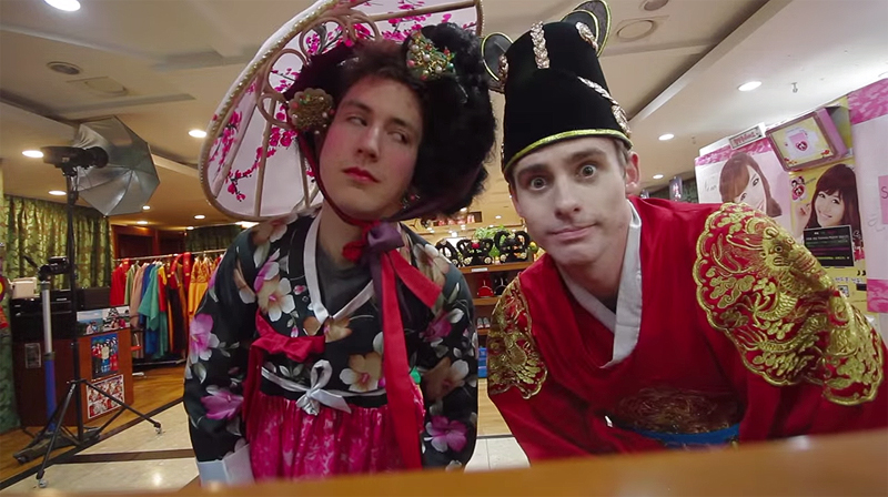 Ollie Kendal, left, and Josh Carrott in an episode filmed in Korea. (YouTube screen capture)
