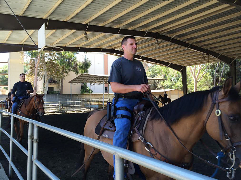 An officer of LAPD's Mounted Platoon during a training session at Ahmanson Equestrian Center.