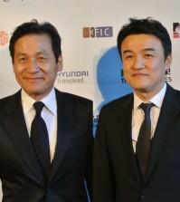 Actors Ahn Sung-ki, left, and Park Joong-hoon at the second San Diego Korean Film Festival.