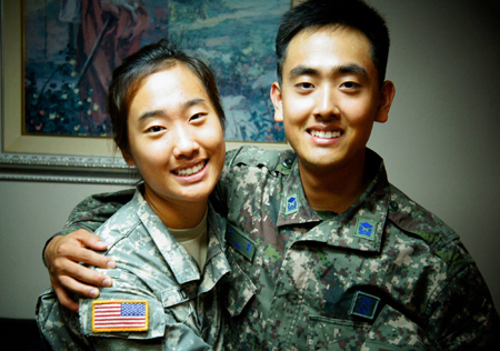 Yoon Ye-eun, left, and her brother Sup hope to join forces when ROK-U.S. joint drills take place.