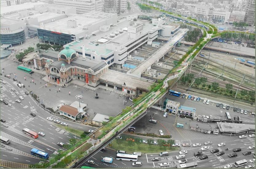 An artist's concept for an elevated road near Seoul Station after it is turned into a park, resembling High Line Park in Manhattan, New York City / Courtesy of Seoul Metropolitan Government