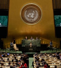 President Park Geun-hye, of South Korea, addresses the 69th session of the United Nations General Assembly, at U.N. headquarters, Wednesday, Sept. 24, 2014. (AP Photo/Richard Drew)
