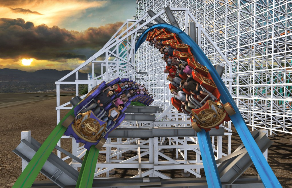 "A fire broke out this afternoon around the highest point of the recently closed Colossus wooden roller coaster at Magic Mountain.  Colossus, which opened to great fanfare in 1978, was closed Aug. 17 and will be replaced with an attraction called ""Twisted Colossus,'' as shown. (AP)"