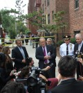 The New York Police Department reveals details of the case outside the Flushing apartment Tuesday. (Jo Jin-woo/The Korea Times)