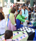 The Korean tea ceremony drew crowds at the L.A. Times Central Court inside LACMA Saturday. (Brant Bogan/LACMA)