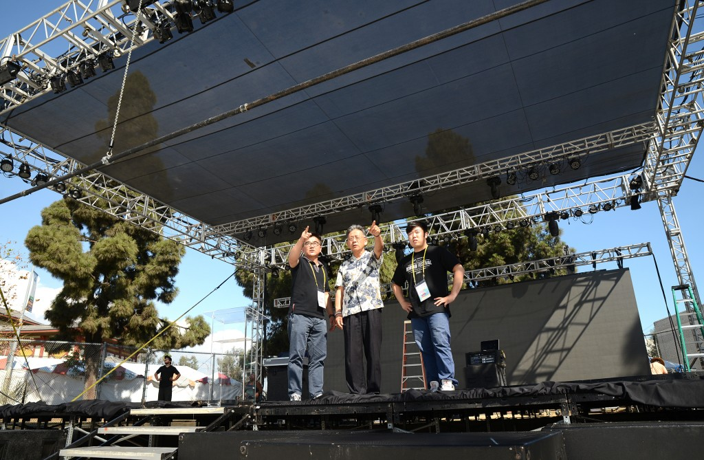 Members of the Los Angeles Korean Festival Foundation prepare for the kickoff of the 41st Los Angeles Korean Festival. (Kim Young-jae/The Korea Times)