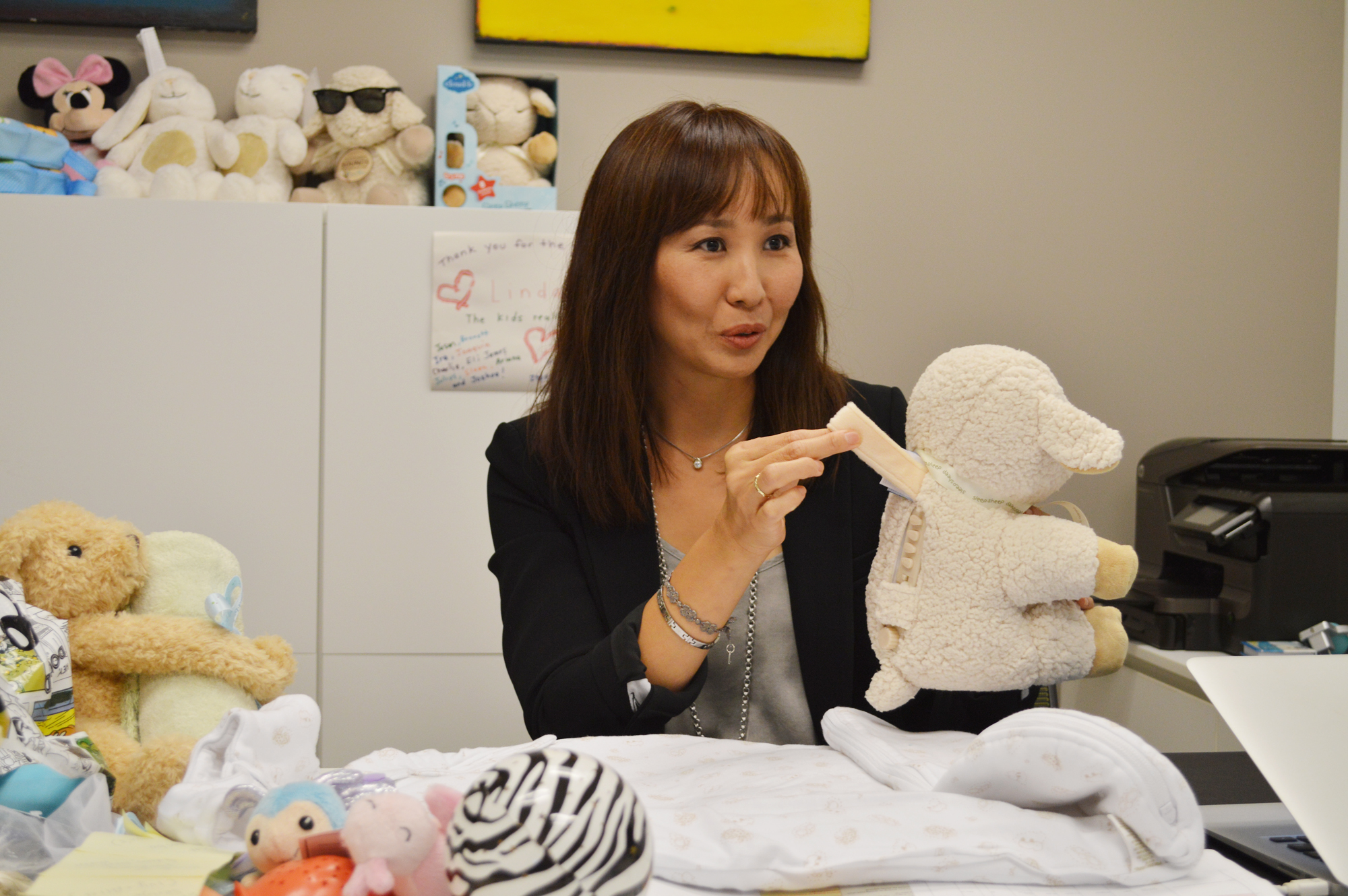 Linda Suh inside her Cloud B office. (Brian Han/The Korea Times)