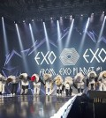 K-pop boy group EXO at their concert, EXO from Exoplanet (The Korea Times file)